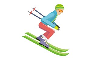 Skier Isolated on White. Person Skiing. Vector