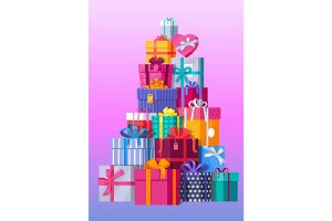 Set of Colorful Gift Boxes Vector Illustrations