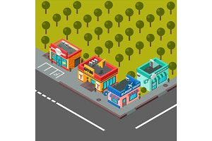 Vector isometric buildings illustration.