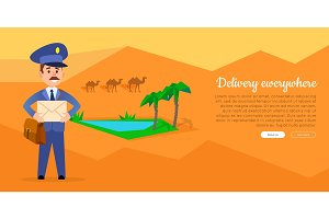 Delivery Everywhere Vector Web Banner with Postman