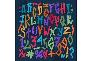 Graffity grunge color font vector alphabet