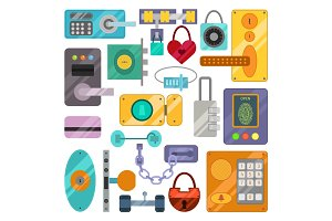 Different house door lock icons set vector.