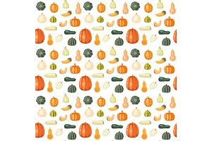 Seamless pattern with pumpkins on white
