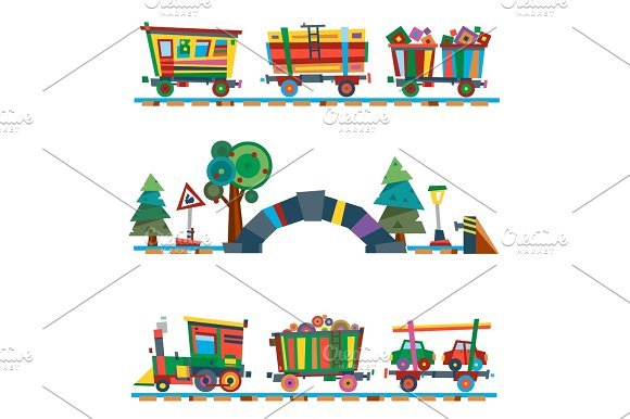 Railway Train Station Vector