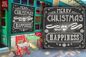 Merry Christmas Vintage Blackboard
