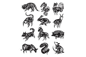 Chinese zodiac eastern calendar black symbols vector illustrations.