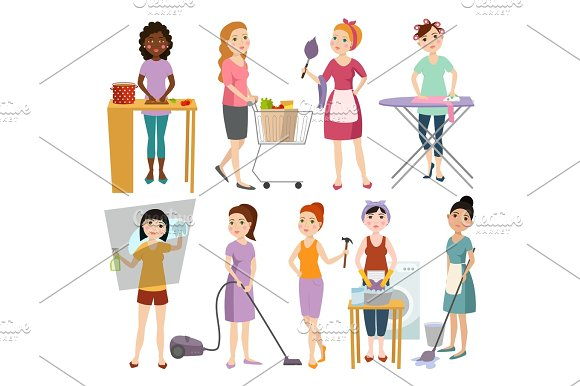 Set Of Housewifes Homemaker Woman Vector Illustration