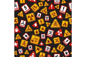 Danger icons seamless pattern vector illustration.