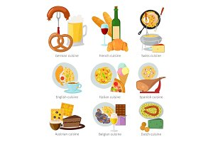 European cuisine food lunch delicious tasty dish vector illustration.