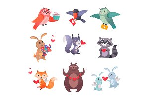Set of Vector Icons with Cartoon Animal Cupids