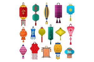 Chinese lanterns light flat style vector illustration.