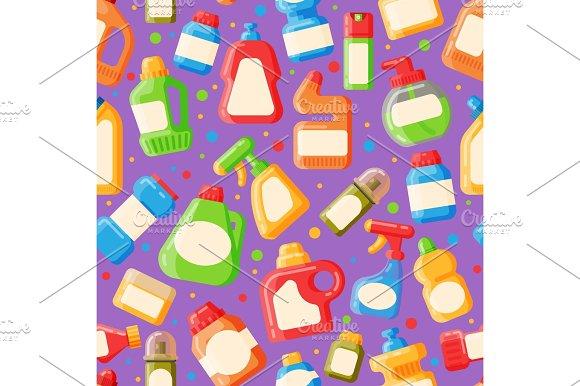 Home clean bottle seamless pattern vector illustration
