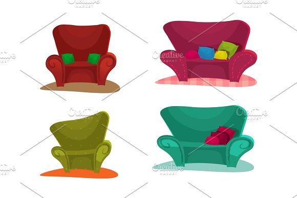 Sofa. Set Vector Illustration