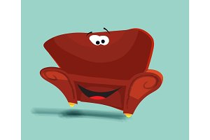 Red sofa isolated illustration, front view