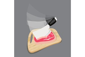 chopping cutting board with meat and a knife for slicing on the gray background