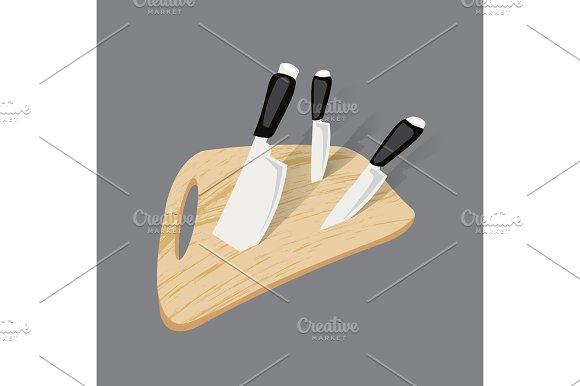 Kitchen knife isolated on white background. View from above.