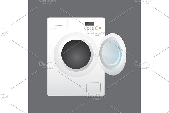 Washing machine isolated on gray background in Objects