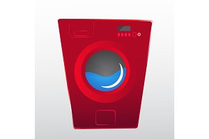 red washing machine in flat style. isolated modern vector illustration