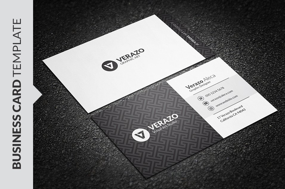 Elegant black white business card business card templates elegant black white business card business card templates creative market wajeb Gallery