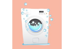 red washing machine in flat style. isolated on pink background. modern vector illustration
