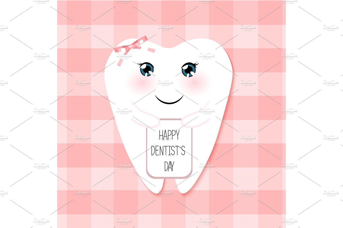 Cute Greeting Card Happy Dentist Day As Funny Smiling Cartoon