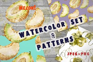 Watercolor patterns with melon
