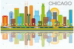 Chicago Skyline with Color Buildings