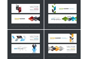 Vector set of modern horizontal website banners with yellow abst