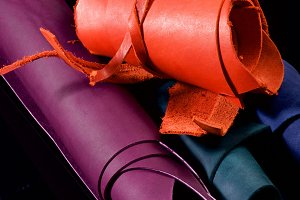 Rolls of Colorful Leather