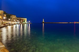 Old harbour with Lighthouse, Chania, Crete, Greece