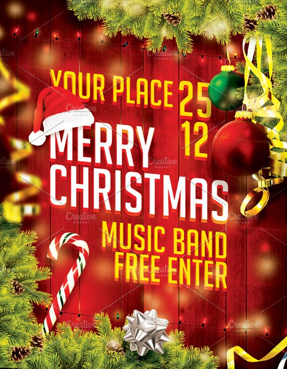 Merry Christmas Flyer in Flyer Templates - product preview 2