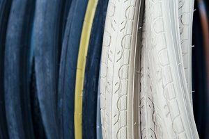 Close-up of bike tyres