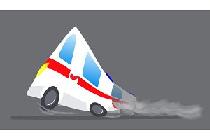 Vector illustration ambulance car. Ambulance auto paramedic emergency. Ambulance vehicle medical evacuation. Cartoon ambulance silhouette