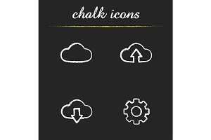 Cloud computing. 4 icons. Vector
