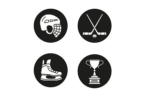 Hockey equipment. 4 icons. Vector