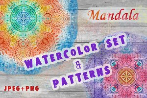 Watercolor Mandala art & pattern