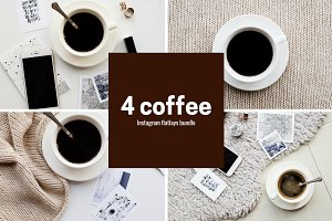 Square coffe flatlays bundle for ig
