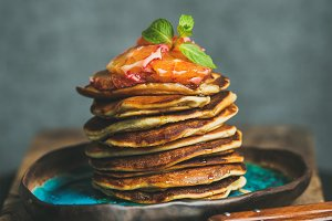 Homemade pancakes with honey
