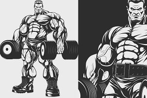 Bodybuilder with dumbbells