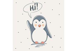 cute penguin say hi