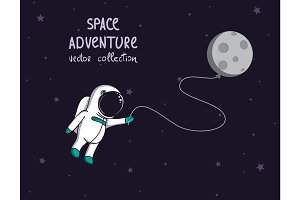 spaceman in outer space with moon like a balloon