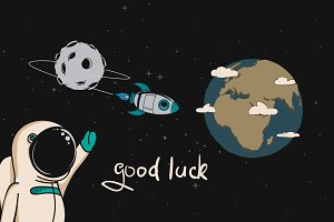 astronaut wishes good luck to the rocket