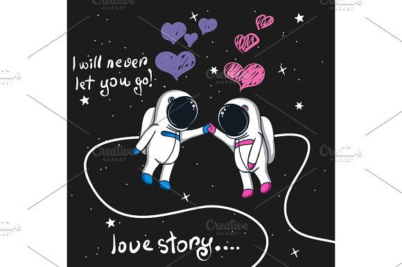 Love Story Of Boy And Girl Astronauts In Space Illustrations