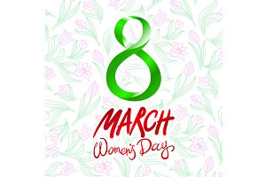 8 March women day, vector. tulip