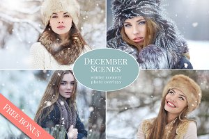 December Scenes - snow overlays