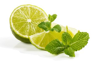 Lime fruit and mint.