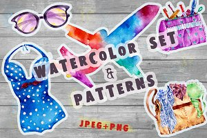 Watercolor traveler pattern