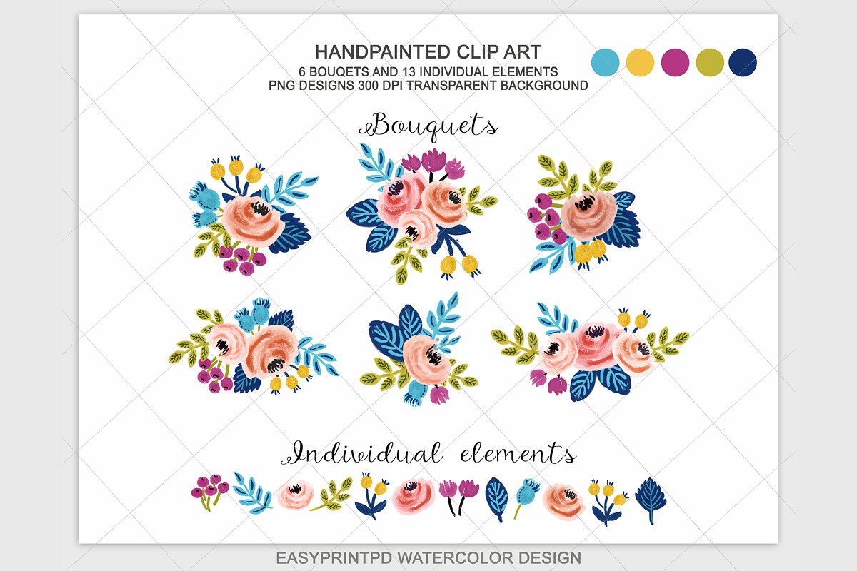 Spring Wedding Floral Clipart Custom Designed Illustrations