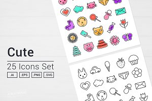 Cute Things Icons Set