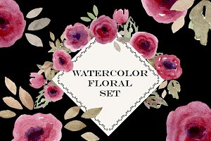 Watercolor Flowers Roses Set